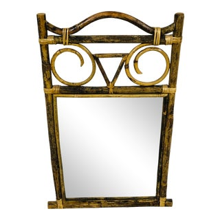 1970s Rustic Bamboo Frame Mirror For Sale