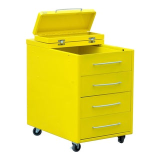 1950s Industrial Workshop/ Factory Cabinets, Refinished in Sunshine Yellow For Sale