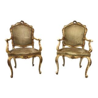 18th C Venetian Antique Arm Chairs - a Pair