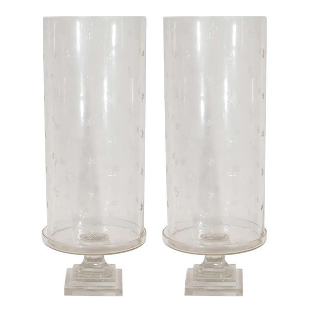 Transparent Pair of Tall Glass Hurricanes For Sale - Image 8 of 8