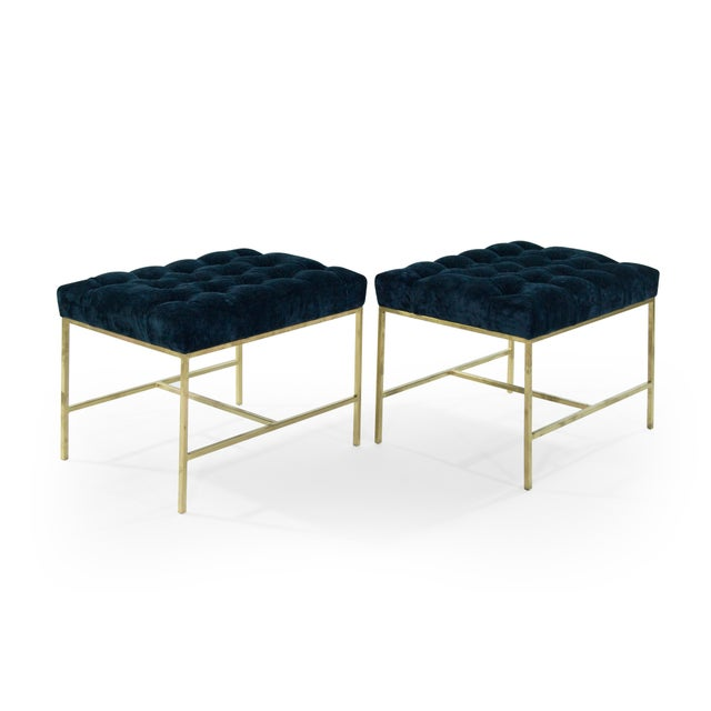 1950s Modern Tufted Brushed Brass Stools - a Pair For Sale - Image 4 of 12