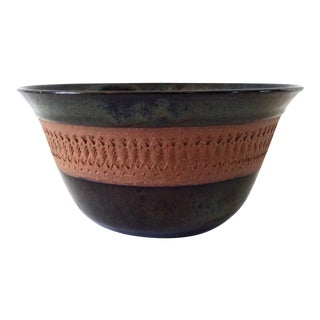 Vintage Glazed and Textured Earthenware Pottery Bowl For Sale