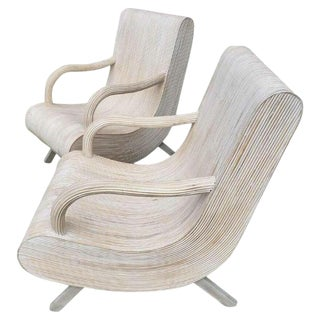 Modern Pencil Reed Lounge Chairs - a Pair For Sale