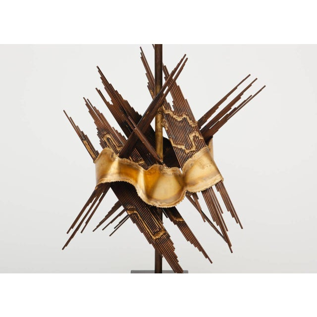 Mid-Century Modern Large 1970s Brutalist Metal Lamp Attributed to Tom Greene For Sale - Image 3 of 6