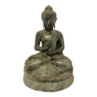 Vintage Metal Thai Buddha Religious Late 20th Century With Green Gray Patina Large For Sale