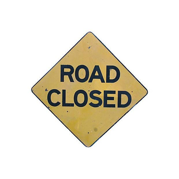 1950s Metal Road Closed Sign - Image 2 of 2