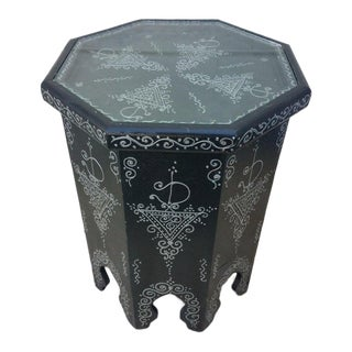 Moroccan Hexagonal Black Hand-Painted Side Table For Sale