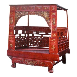 Early 20th Century Red and Gold Carved Wood Chinese Wedding Opium Bed For Sale