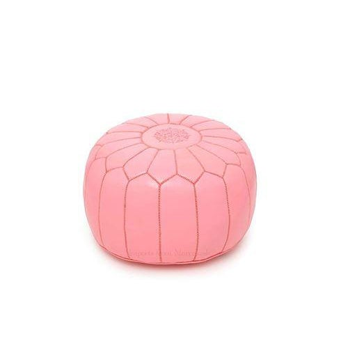 Moroccan Leather Pouf Footstool Rose Petal Pink - Image 2 of 2