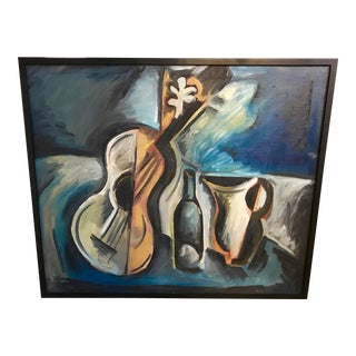 1966 Norman Baasch Cubist Still Life of a Violin For Sale