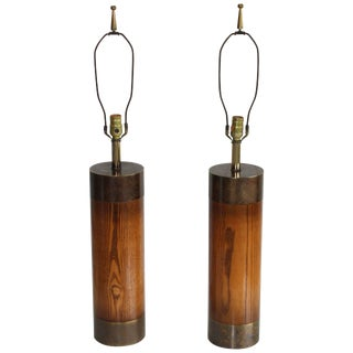 1960s Bronze and Walnut Table Lamps by Westwood For Sale