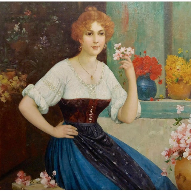 """Luis Doret """"The Beautiful Flower Girl"""" Oil Painting, 19th Century For Sale - Image 4 of 11"""