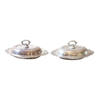 Silvered Covered Dishes - A Pair For Sale