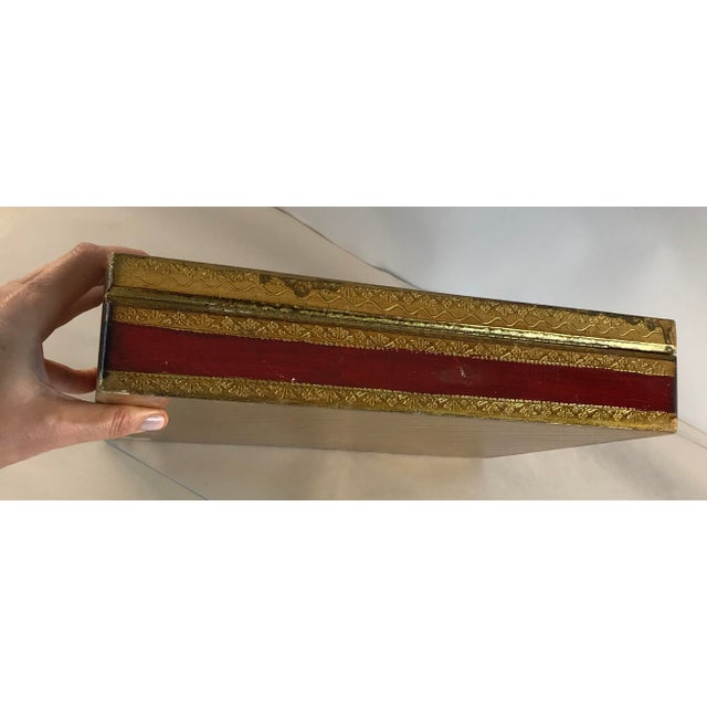 Florence Italy Hand Painted Floral Gold Leaf Box For Sale - Image 4 of 9