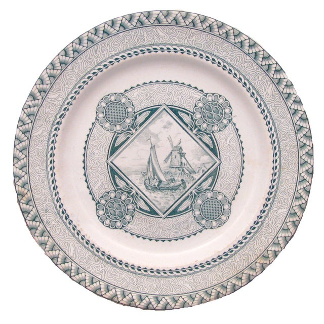 Lovely collection of complementary vintage green and white European transferware plates. A wonderful addition to any...