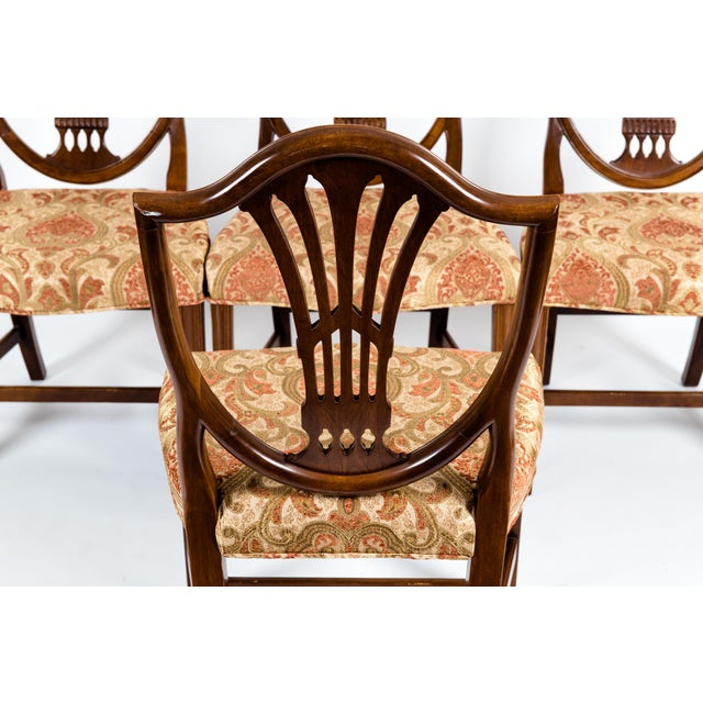 Copper Solid Mahogany Wood Shield Back Dining Chairs - Set of 4 For Sale - Image 8 of 13