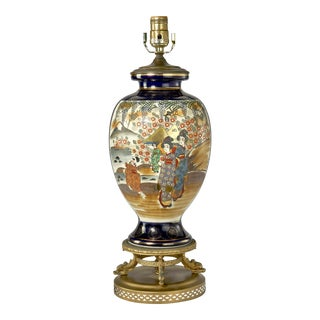 Traditional Hand Painted Oriental Jar Table Lamp For Sale