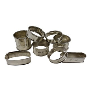 Assorted Sterling Silver Antique Napkin Rings - a Mixed Set of 8 For Sale