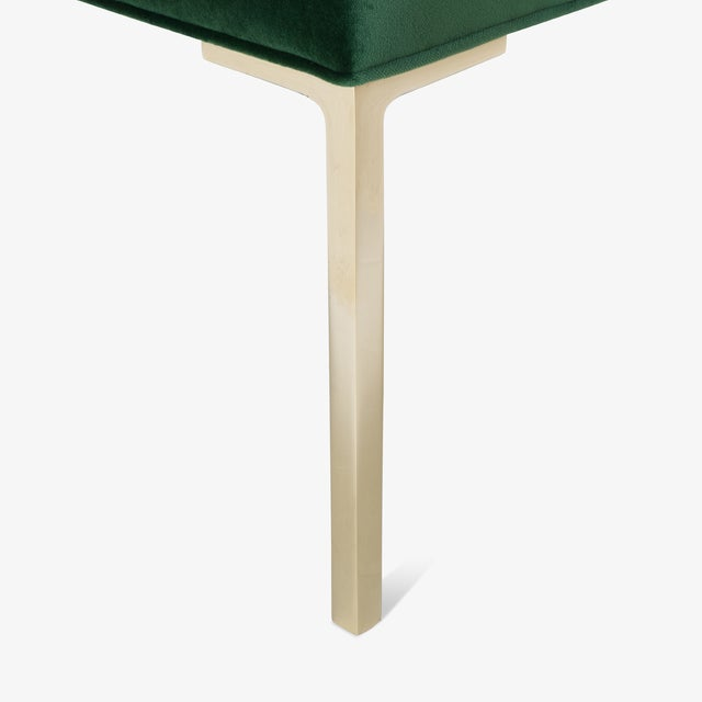 Not Yet Made - Made To Order Astor Square Brass Ottomans in Emerald Velvet by Montage, Pair For Sale - Image 5 of 8