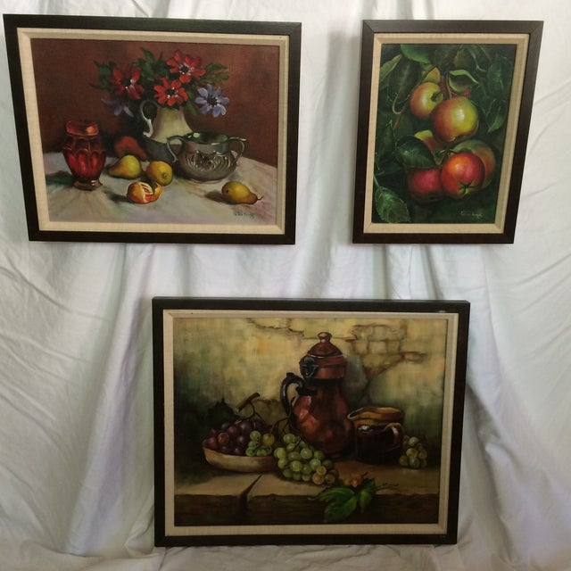 Three Vintage Still Life Oil & Acrylic Framed Paintings by Sacramento Artist Fran King - Group of 3 For Sale - Image 13 of 13