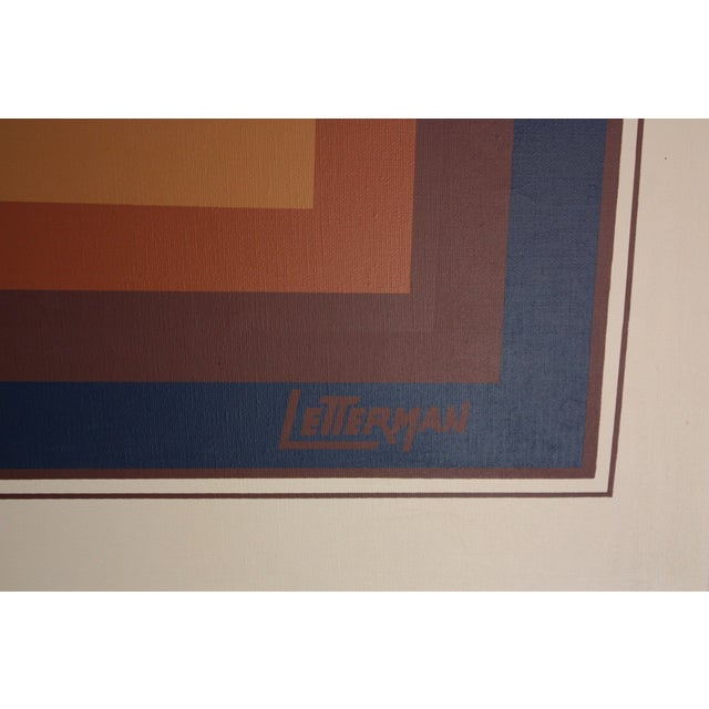 8985ee9692a7 Oil on Canvas Geometric Op Art by Letterman For Sale - Image 12 of 13