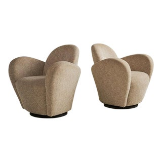 A Pair of Wrap Around Swivel Chairs in the Style of Vladimir Kagan For Sale
