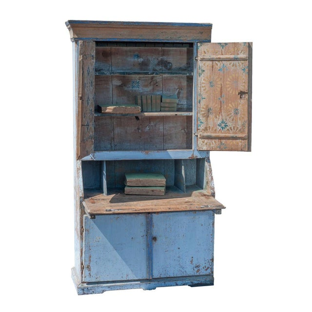 Blue Painted Swedish Secretaire For Sale - Image 4 of 9