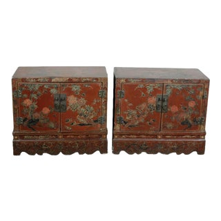 Chinese Qing Dynasty Red Lacquered Cabinets - a Pair For Sale