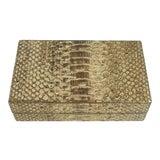 Image of Nancy Gonzalez Snake Skin Gold Box Desk Accessory Clutch Handbag For Sale