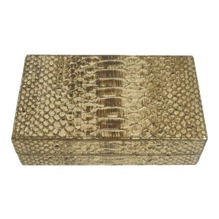 Nancy Gonzalez Snake Skin Gold Box Desk Accessory Clutch Handbag For Sale