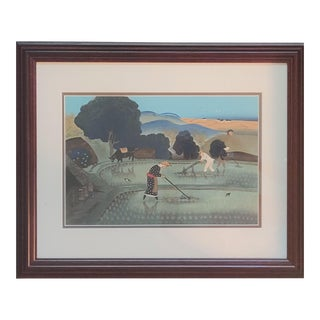 Framed Woodblock Print by Japanese Artist Ono Bakufu For Sale