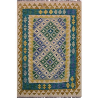 Contemporary Kilim Annabell Ivory/Blue Hand-Woven Wool Rug - 3'7 X 4'11 For Sale