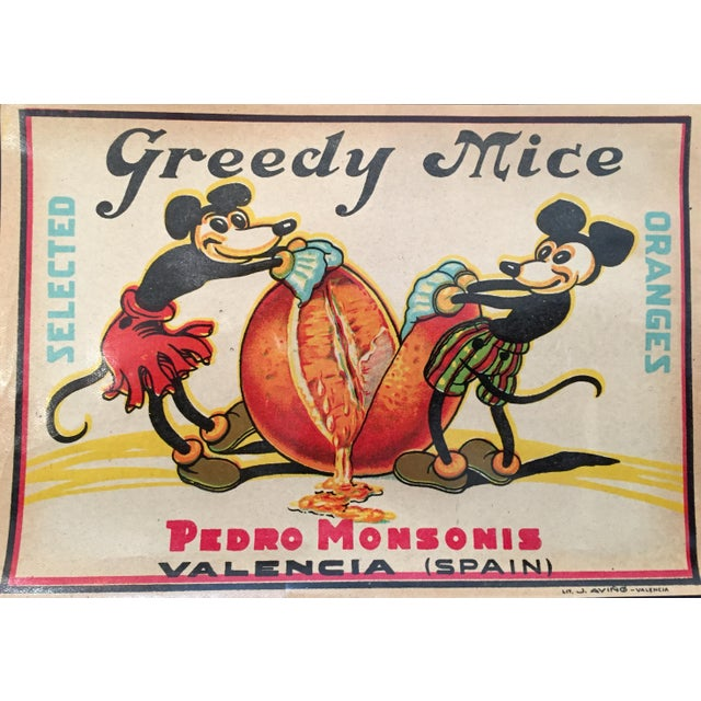 'Greedy Mice' Orange Crate Label - Image 2 of 2
