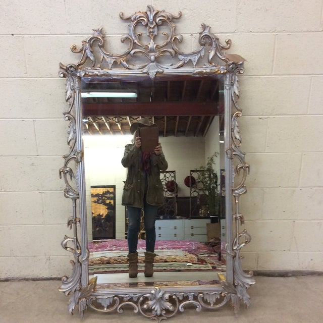 Large Ornate Silver and Gold Leaf Mirror For Sale - Image 13 of 13