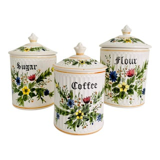 Vintage Country Style Cottage Floral Ceramic Kitchen Canisters Flour Sugar Coffee Set 3 Pieces For Sale