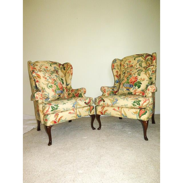 Queen Anne Queen Anne Style Floral Upholstered Wing-Backed Chairs - a Pair For Sale - Image 3 of 13