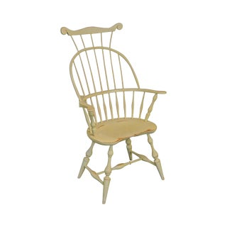 Nichols & Stone Distressed White Painted Windsor Arm Chair For Sale