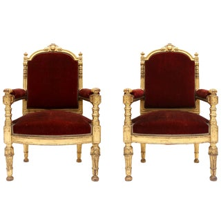 Giltwood and Velvet Classical Armchairs For Sale