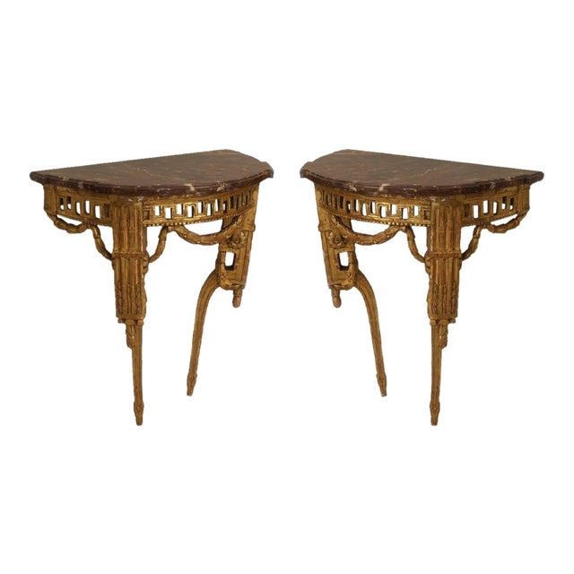 Pair of Late 18th Century Italian Neoclassical Bracket Console Tables For Sale
