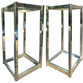 1970s Hollywood Regency Brass & Glass Side End Tables - a Pair For Sale