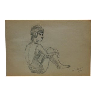 "1965 Vintage ""Velia Danzuso"" Tom Sturges Jr. Original Drawing For Sale"