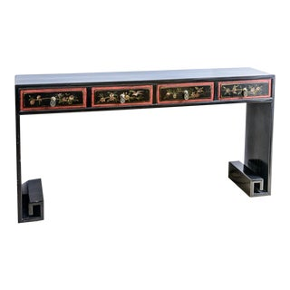 Asian Black & Red Lacquer Greek Key Console Table For Sale