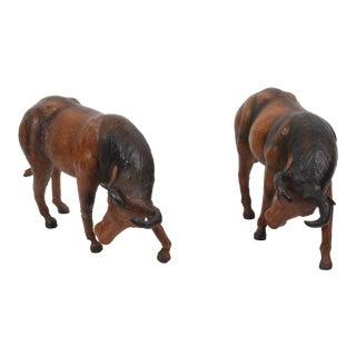 Vintage Decorative Leather Bulls - a Pair For Sale