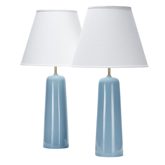 Bryce Lamp in Shallows Glaze - a Pair For Sale