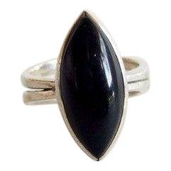 Jack Nutting American Modernist Black Jadeite + Sterling Silver Ring For Sale