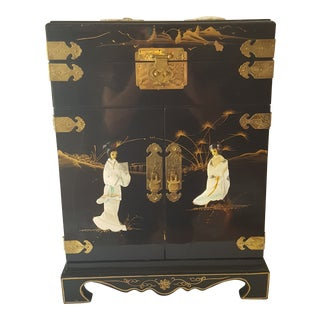 Asian Black Lacquer Jewelry Armoire For Sale