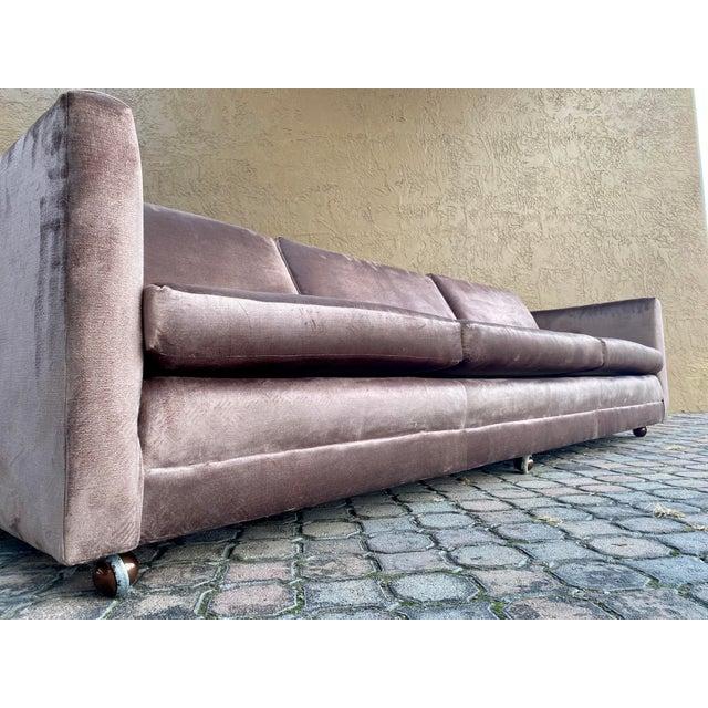 Metal Restored Selig Tuxedo Sofa in a Velvet Brown For Sale - Image 7 of 12