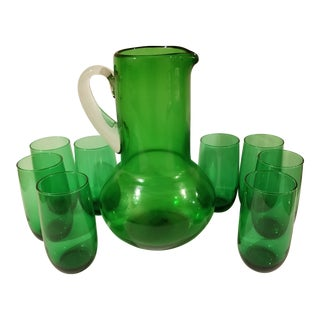 1960s Vintage Emerald Green Pitcher and Glasses - Set of 9 For Sale