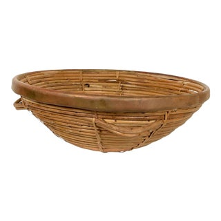 Mid Century Modern Weaved Basket With Brass Accents, After Arthur Umanoff For Sale