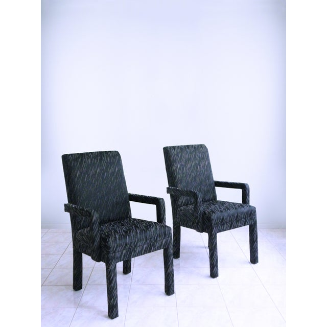 Wood 1980s Vintage Parsons Armchairs- A Pair For Sale - Image 7 of 7